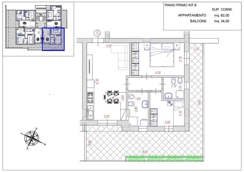 Appartamento in fase di realizzazione con due camere e due bagni – R82/6