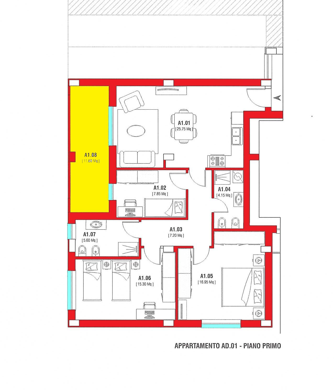 Appartamento con 2 camere e 2 bagni nuova costruzione R45/1
